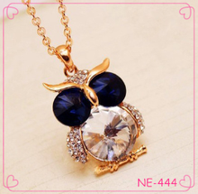 hot sale gold chain diamond crystal owl pendant necklace