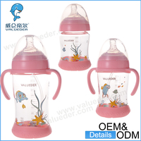 High borosilicate adult silicone bottom glass baby feeding bottle with breast simulation nipple