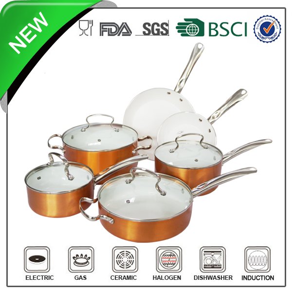 10pcs aluminium gold non-stick pot set & diamond ceramic pan