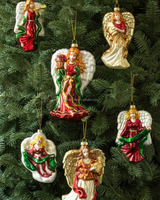 Wholesale hand painted glass christmas tree ornaments hanging angels