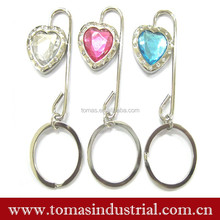 Customized design crystal table bag hanger \bag hook \bag holder with keyring