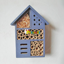 2017 wholesale cheap wooden insect house handmade natural wooden insect house custom bee bug wooden insect house W06F029