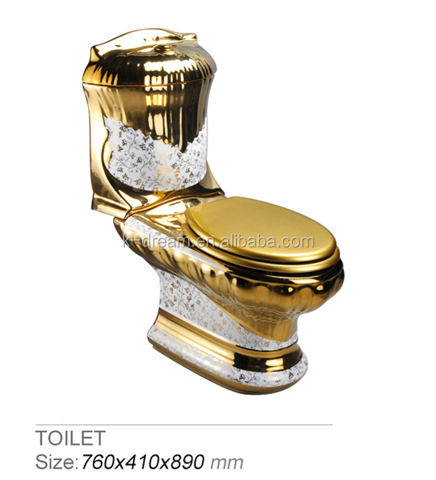 Modern bathroom toilet bowl two pieces washdown western gold toilet set