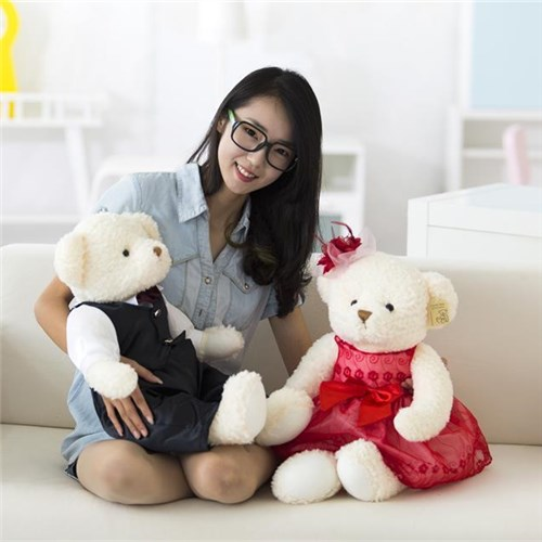 precision cartoon factory plush wedding dress bear pairs OEM animal supplier