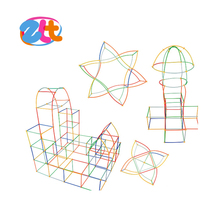 2016 Hot sale and high quality plastic tube DIY toys straw building blocks 210 PCS for kids
