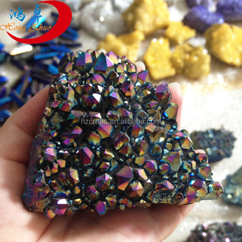 Natural rainbow plated aqua aura angel quartz stone spirit healing crystal cluster wholesale