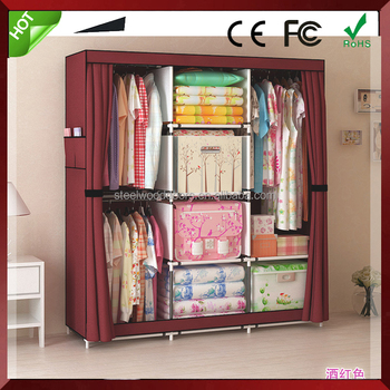 Hot sale shelves for kids room clothing bedroom fabirc assemble closet wardrobe