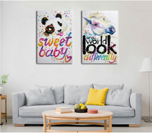 Pop abstract wall art 3d cartoon colorful animal horse pictures on canvas
