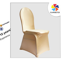China Supplier Elegant Metallic Champagne Gold Spandex Wedding Banquet Hotel Chair Cover