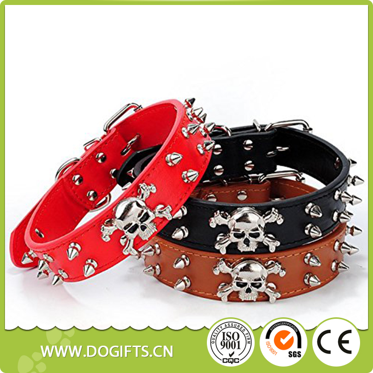 Pet Rivets Adjustable Skull Head Dog Chain Ring Collar Spiked Studded Leather Dog Collar Dog Leashes and Collars Dogift0683