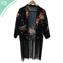 SC-130205 Printed Floral Kimono Chiffon Lady Scarf with Long Tassels