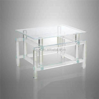 high glass easy washing acrylic tea table for office