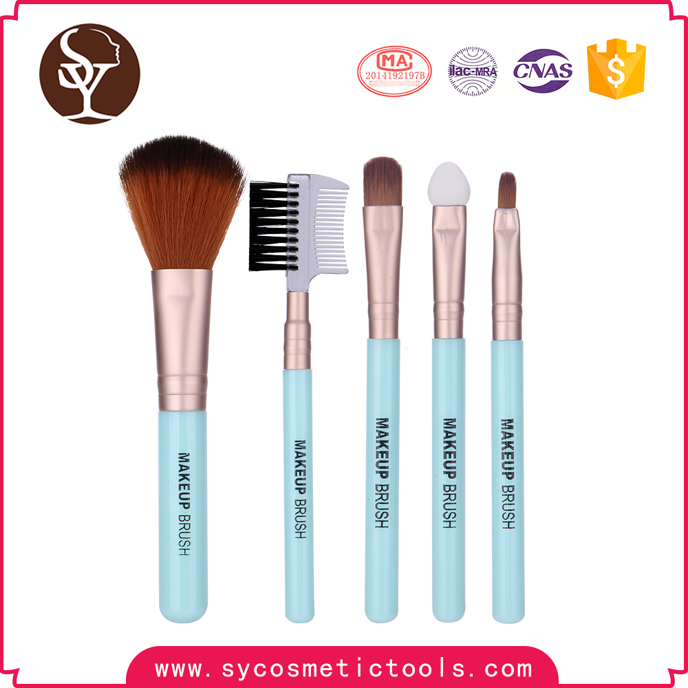 Hot sale best custom makeup brush Nylon Hair 5Pcs Makeup Brush Set