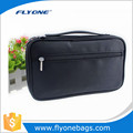 Large capacity black brush pouch travel cosmetic bag