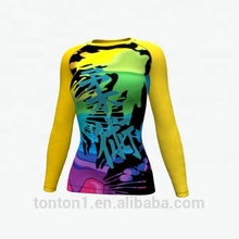 Tonton sportswear Wholesale BJJ Jiu Jitsu Lycra Custom Long sleeve Design logo Women Sublimation MMA Rash Guard