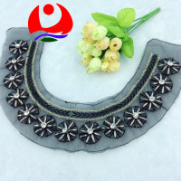 wholesale plastic beads U shape collar neck trim floral design sewn on black mesh
