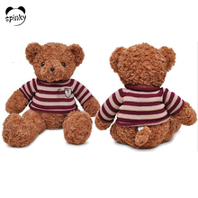 New Arrival striped sweater plush orange teddy bear t-shirts soft toys for babies