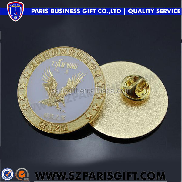 Sales star security lapel pin with 3D gold eagle