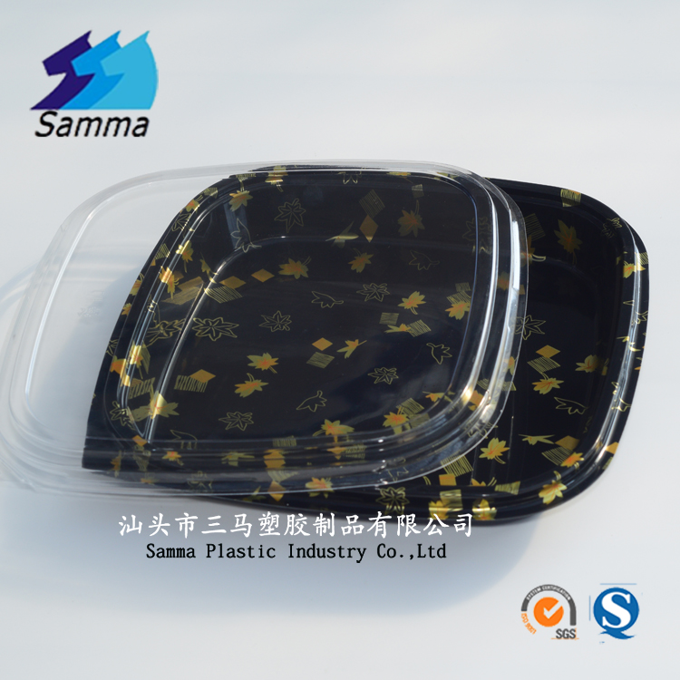 Bento lunch box leakproof sushi equipment dish plastic packaging box, delivery disposable plate food plastic container with lid