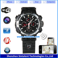 720P HD WIFI Smartphone Ready watch IP Nanny Cam Wifi Cameras pinhole watches Cam with Live Stream