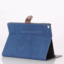 Jean denim fabric leather wallet card holder stand case for iPad air 2