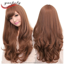 Cheap fashion lady fluffy long curly synthetic cosplay wigs high temperature fiber stage party cosplay wigs
