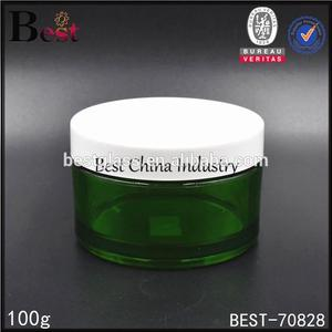 new design 100ml plastic bottle cosmetic green plastic bottle and jar green cream bath salt jars container