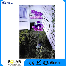 High Quality Solar Powered Metal Artwork Butterfly Glass Ball Garden Light
