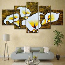 Decorative Pictures 5 Pieces Abstract Oil Painting beautiful flower On Canvas Decoration Modular Wall Art For Room Unframe