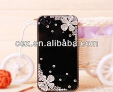 For iPhone4 4S iPhone5 5S Phone Case Cover Diamond Flower Bling