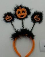 Halloween Plush and Feather Headband with PUMPKIN