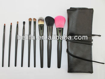 9pcs Professional function Cosmetic makeup Brush set kit recyclable Black Handle Colorful Synthetic Hair factory china