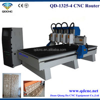 wooden furniture cnc 3d carving machine/multi-heads woodworking router with Auto Lubrication System QD-1325-4