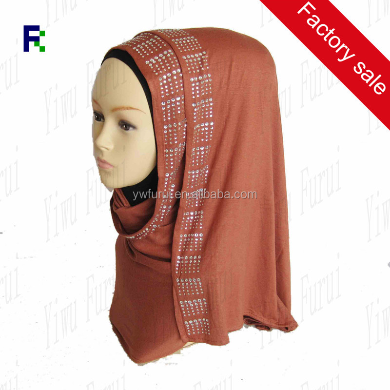 Newest Jersey Paillette Scarf Hijab With 6 Rows Stones Wraps Rhinestones Beading Headband For Women Muslim Scarve Shawls