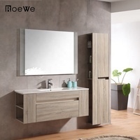 European style plywood washroom bathroom vanity, modern bathroom cabinets with ceramic basin from manufacturer