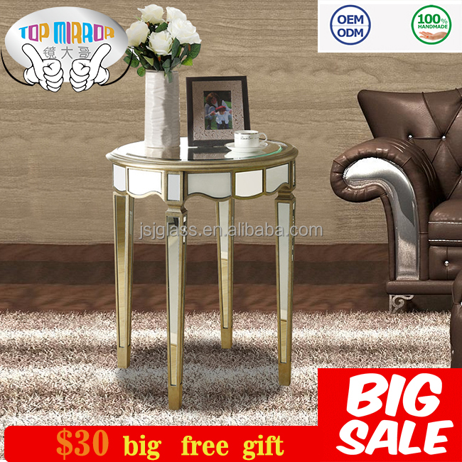 Living furniture mirrored end table gold finish sofa side table mirrored furniture
