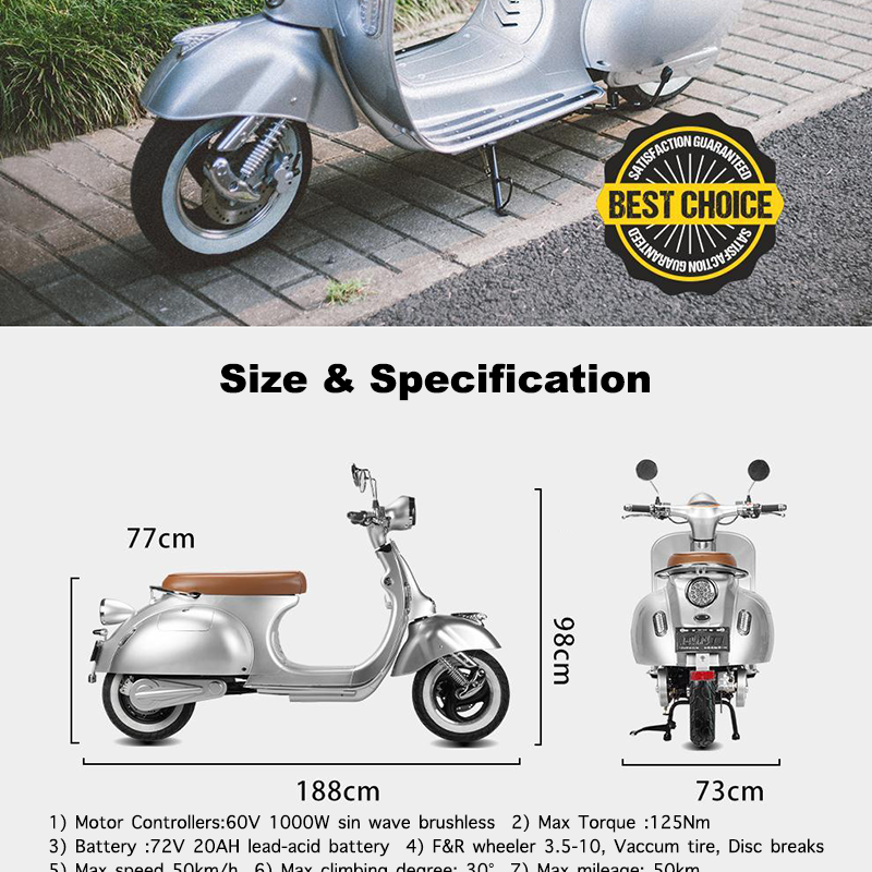 COC Vespa City Fashion Electric Motorcycle with 2000W Motor