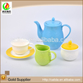 Decorative colorful made eco-friendly ceramic china tea pot with Uncaria leaves Cup
