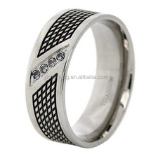 9mm Titanium Round Checker Board Cut Two Tone Ring Cubic Zirconia Cz
