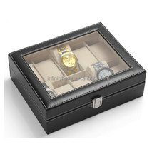 Handmade custom wooden pu leather watch box for packaging