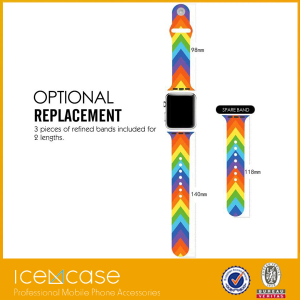 Factory sport watch band rainbow loon bands for apple watch band pattern