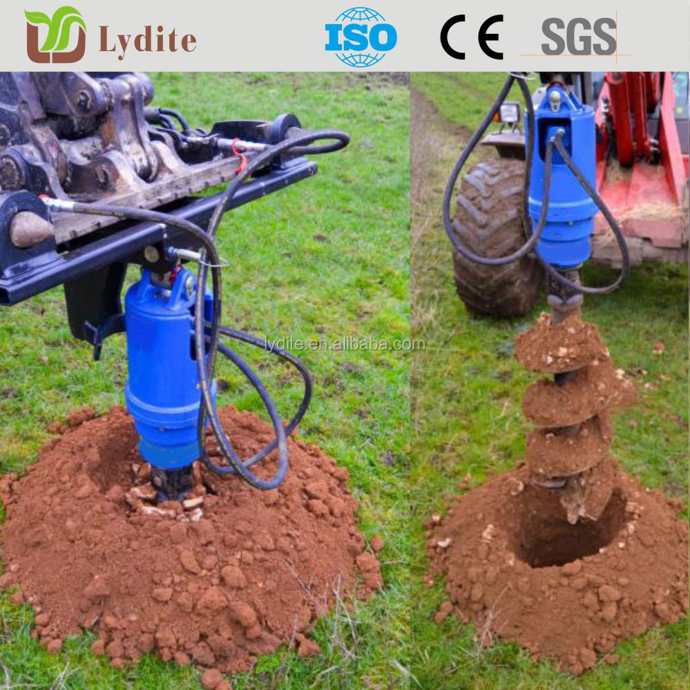 hydraulicly powered earth drill for soldier pile installation