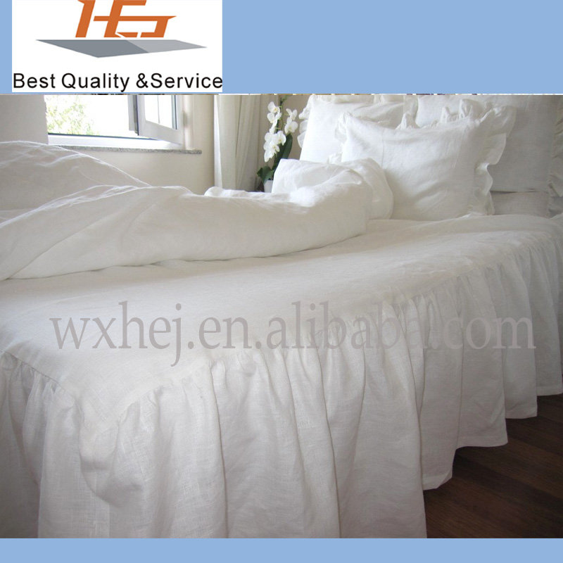 Cheap 100% cotton white plain skirted bedspread