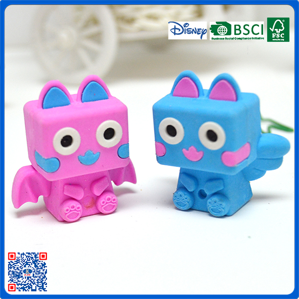 high quality low price cute mini 3D shaped erasers for children