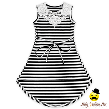 Hot Sell New Style With Black And White Stripes Soft Cotton Lace Dress Summer Baby Girl Dress