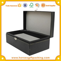 Trade Assurance Customized Clamshell Paper Box Black Paper Box With Metal Lock