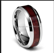Red tungsten ring wood inlay tungsten ring hawaiian koa wood tungsten bands wedding rings