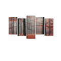 Red Forest Photo Canvas Wall Art Tall Tree Canvas Printing for Living Room and Office Decor Stretched Canvas Art 5-Panel