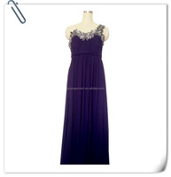 Lady's purple polyester chiffon evening dress with lace