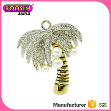 Golden branches Silver crystal leaves Pearl fruit Coconut tree pendant